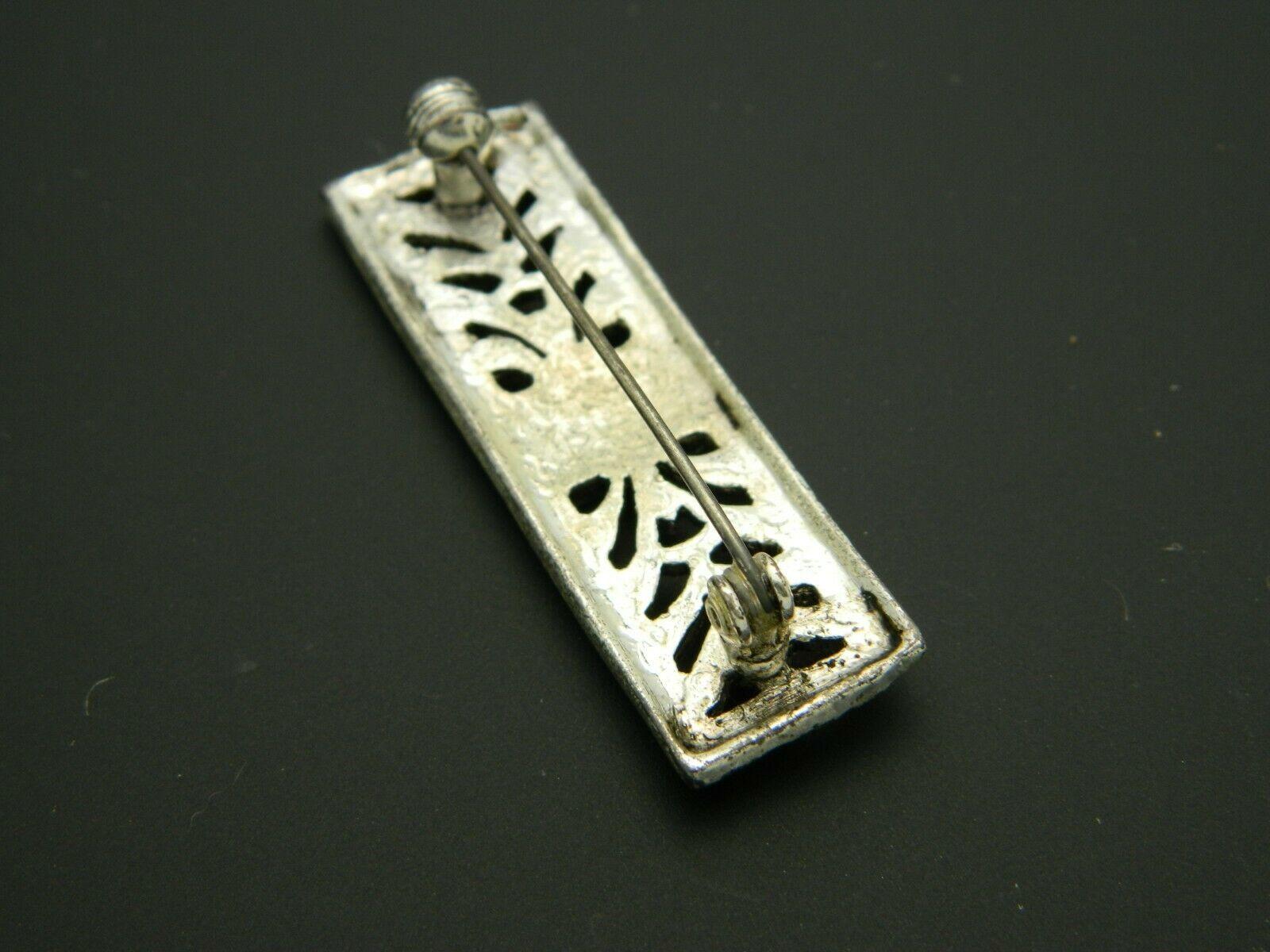 Art Nouveau Style Faux Marcasite Silver Tone Floral Pin Brooch Vintage image 4