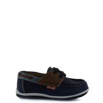 Boy's Rilo leather moccasins blue denim lace-up shoe - $38.98