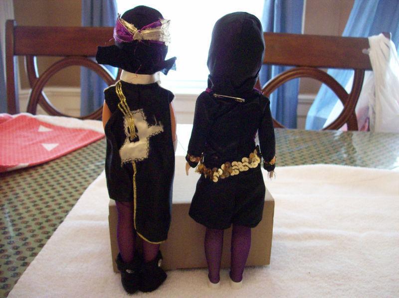 Two 1960's Homemade Girl Super Hero Dressed Dolls Lot