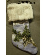 Handmade Running Wolf Pack in Snow Faux-Fur Holiday Christmas Stocking L... - $12.99