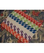 10 Green & White Stripe Paper Straws..Party Straws - $2.40