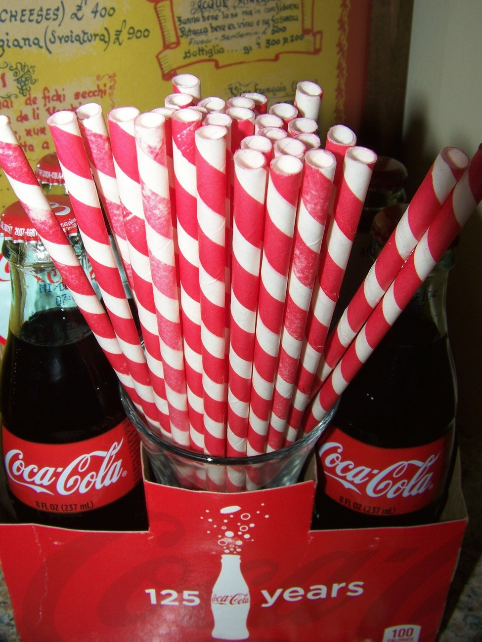 10 Paper Drinking Straws...Retro Red Stripe Paper Straws....