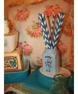 25 Blue & White Paper Drinking Straws...Retro Party Straws.. - $5.99