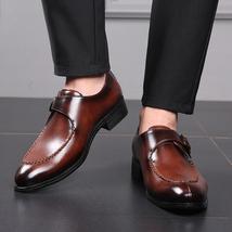 Handmade Men Brown Leather Monk Strap Dress/Formal Shoes image 3