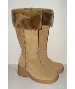 SKECHERS Women's Tan Suede Leather Fashion Tall Boots Shoes 6.5 M NEAR MINT - $29.99