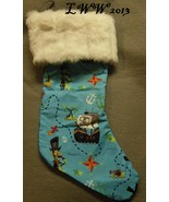 Handmade Blue Cartoon Pirate w/ white Faux-Fur Holiday Christmas Stockin... - $12.99