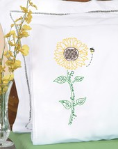 Jack Dempsey Stamped Pillowcases W/White Lace Edge 2/Pkg-Sunflower - $15.25