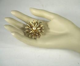 Kramer Pin Brooch Gold Tone Signed Faux Pearl Sz 1 5/8 In VTG Sunburst F... - $44.55