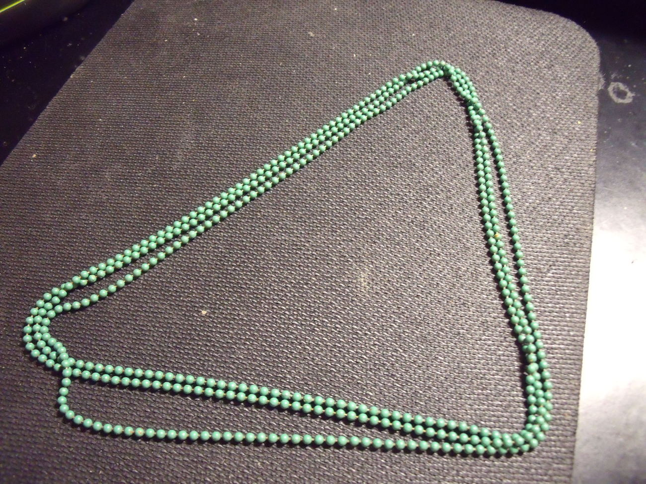 Enameled Green Flapper Style Beads
