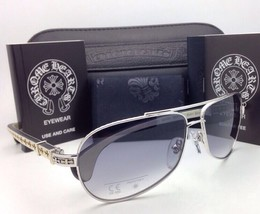 CHROME HEARTS Sunglasses BABY BEAST SS-WTEB Silver-White Ebony Wood w/Grey Fade