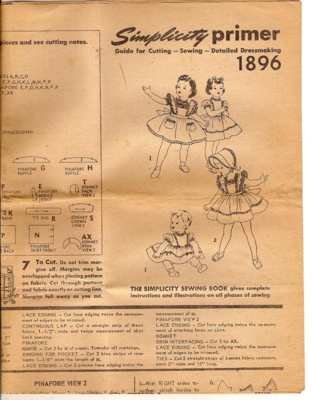 Simplicity 1896 Child's Dress Pinafore Bonnet Pattern - Size 1