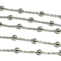 18K WHITE GOLD BALLS CHAIN 2 MM, 31.5 INCHES LONG, SPHERE ALTERNATE OVAL ROLO image 3