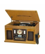 Oak Finish Entertainment Center AM/FM Radio CD Player Turntable Bluetoot... - $170.18