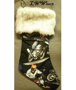 Handmade Black Motorcycle Rider Faux-Fur Holiday Christmas Stocking Large  - $12.99