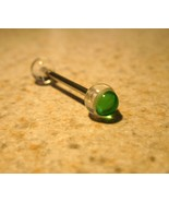 TONGUE BARBELLS BODY PIERCING 5/8 CLEAR/GREEN CENTER #549R - $3.99