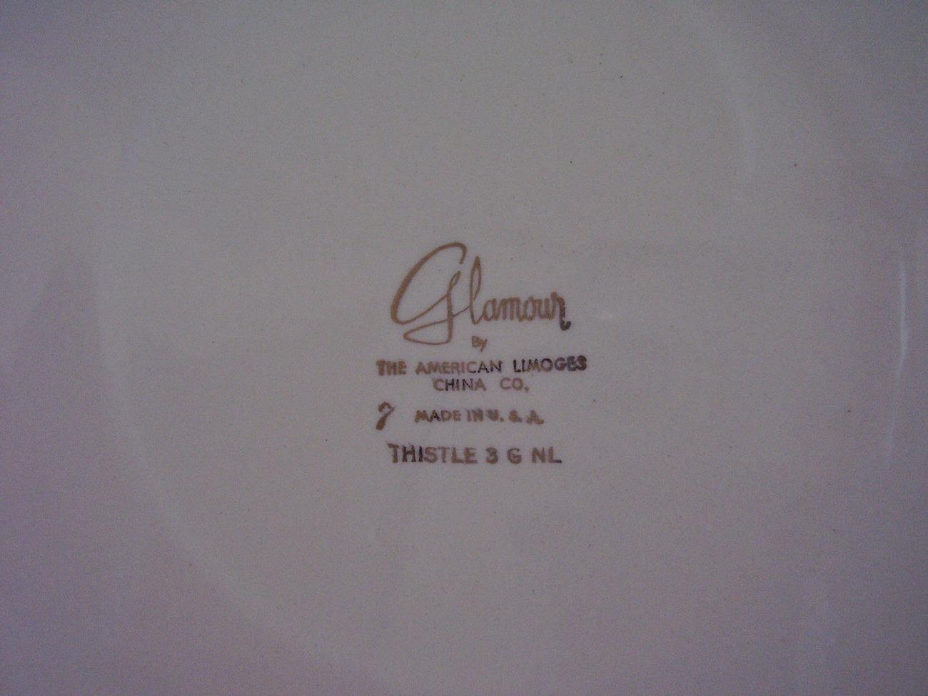 American Limoges Glamour Thistle Handled Platter