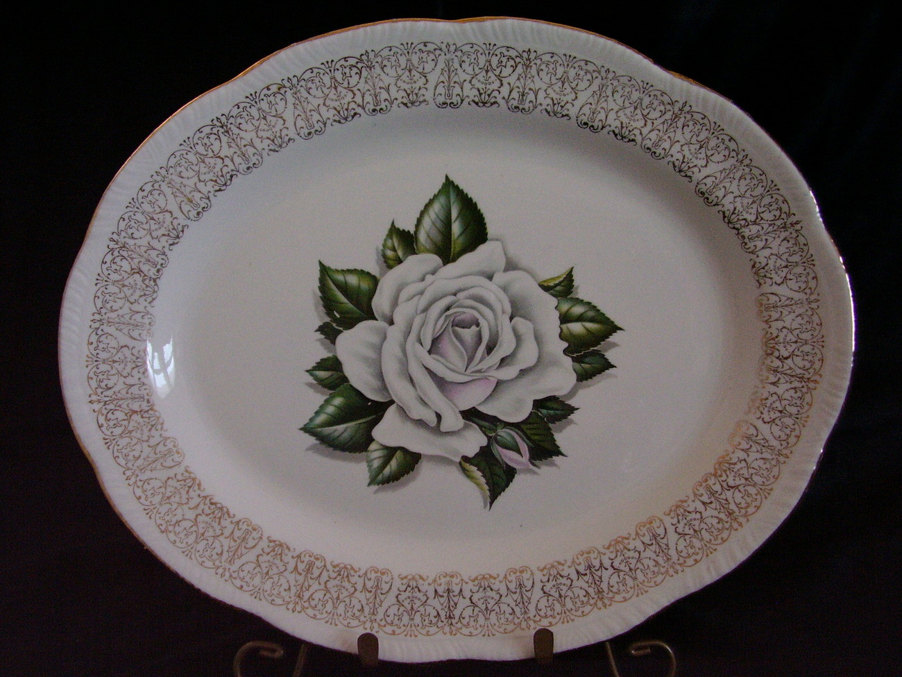 Primary image for Homer Laughlin Liberty Shape Windsor White Rose Gold Trim Platter