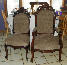 Pair Walnut Carved His Her Parlor Chairs Sidechair Armchair - $3,101.10