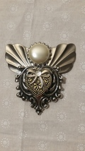 Jane Davis Handmade Angel Silver and Gold Tone Clear Stone Brooch Pin  B... - $9.99
