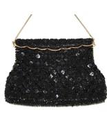 Vintage Handmade Hong Kong Black Beaded Sequins Gold Trimmed  Evening Ba... - $26.00