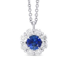 1.35Cts Sapphire Side Diamonds Halo Pendant Necklace Set in 18K  White Gold - $3,415.50