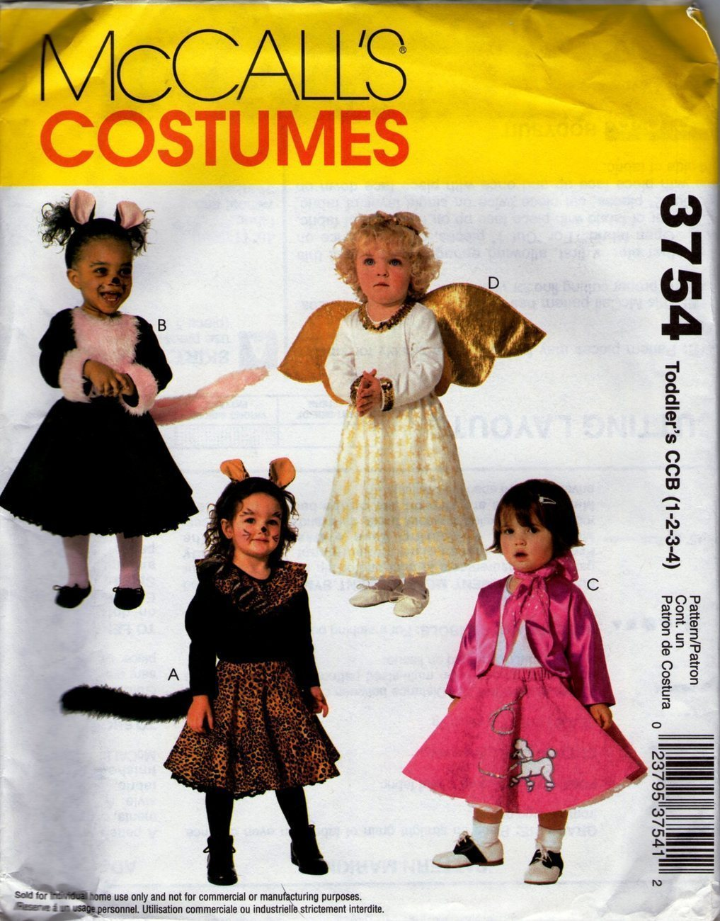 McCall's Costumes Pattern 3754 -Toddlers Costumes (Size 1-4)