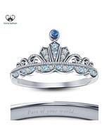 14k White Gold Plated 925 Silver Disney Princess Cinderella Crown Weddin... - £39.63 GBP