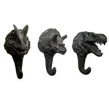 PANDA SUPERSTORE 3 Pieces Creative Black Dinosaur Resin Decorative Wall Hooks Mo