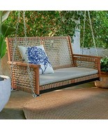 Rustic Cottage Wood & Rope Porch Swing Outdoor Garden Patio Furniture 2 ... - $349.45