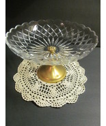 Val St. Lambert Large Compote Pedestal Bowl Gilt Gold Plated Cut Crystal  - $98.01