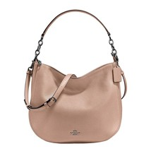 COACH Womens Polished Pebbled Leather Chelsea 32 Hobo Dark Antique Miner... - $194.90