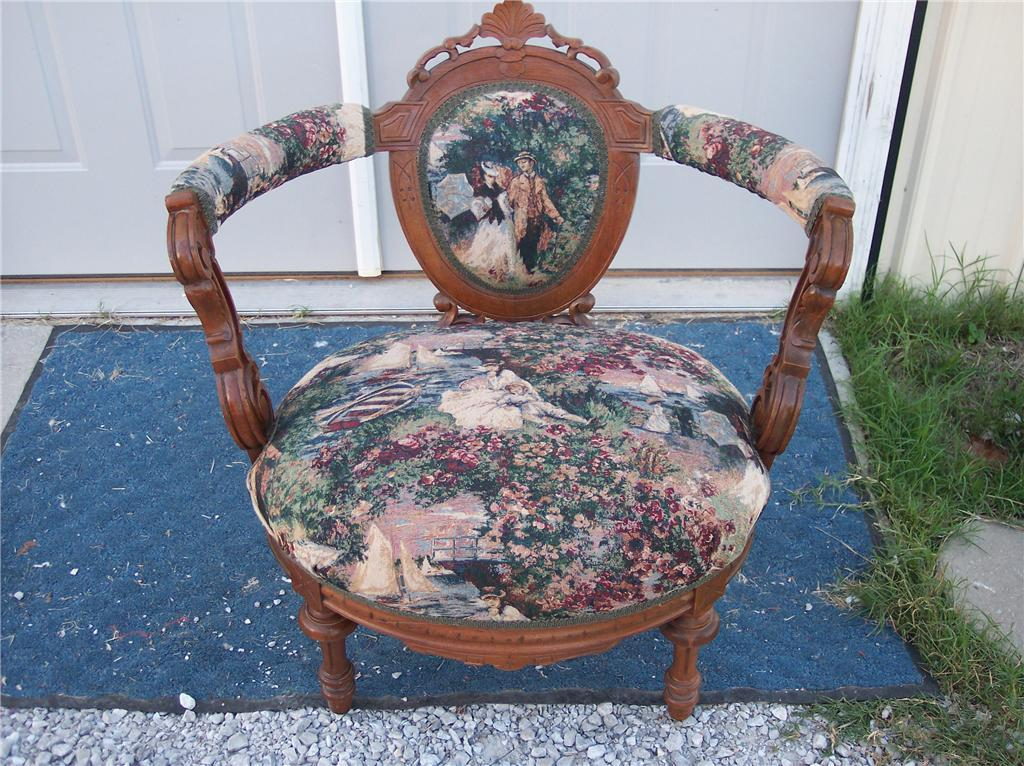 Walnut Renaissance Revival Bustle Chair/Parlor Chair