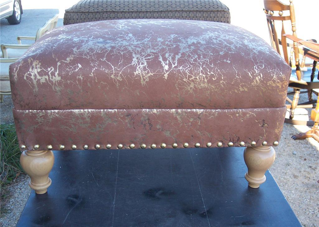 Tan & Gold Leather Stool/Ottoman