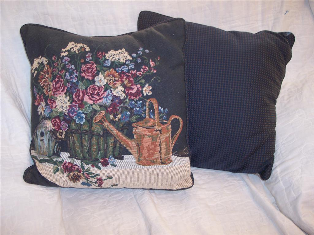 Pair of Flowers & Waterpot Print Pillows 16 x 16