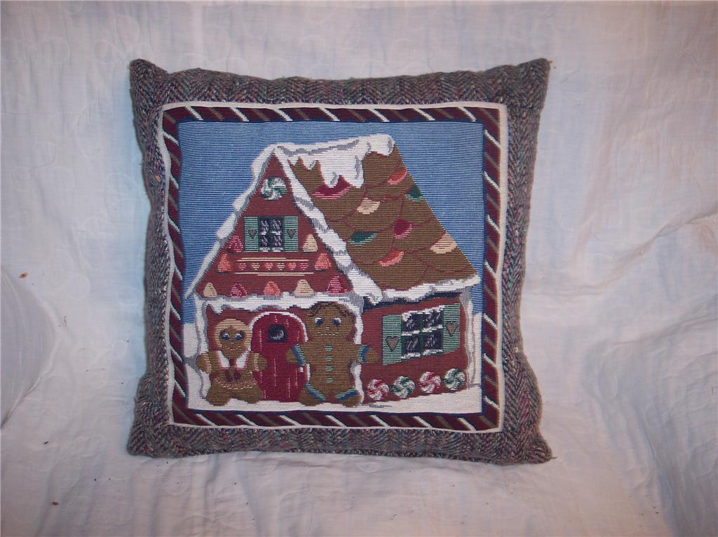 Ginberbread Men & House Christmas Print Pillow 16 x 16