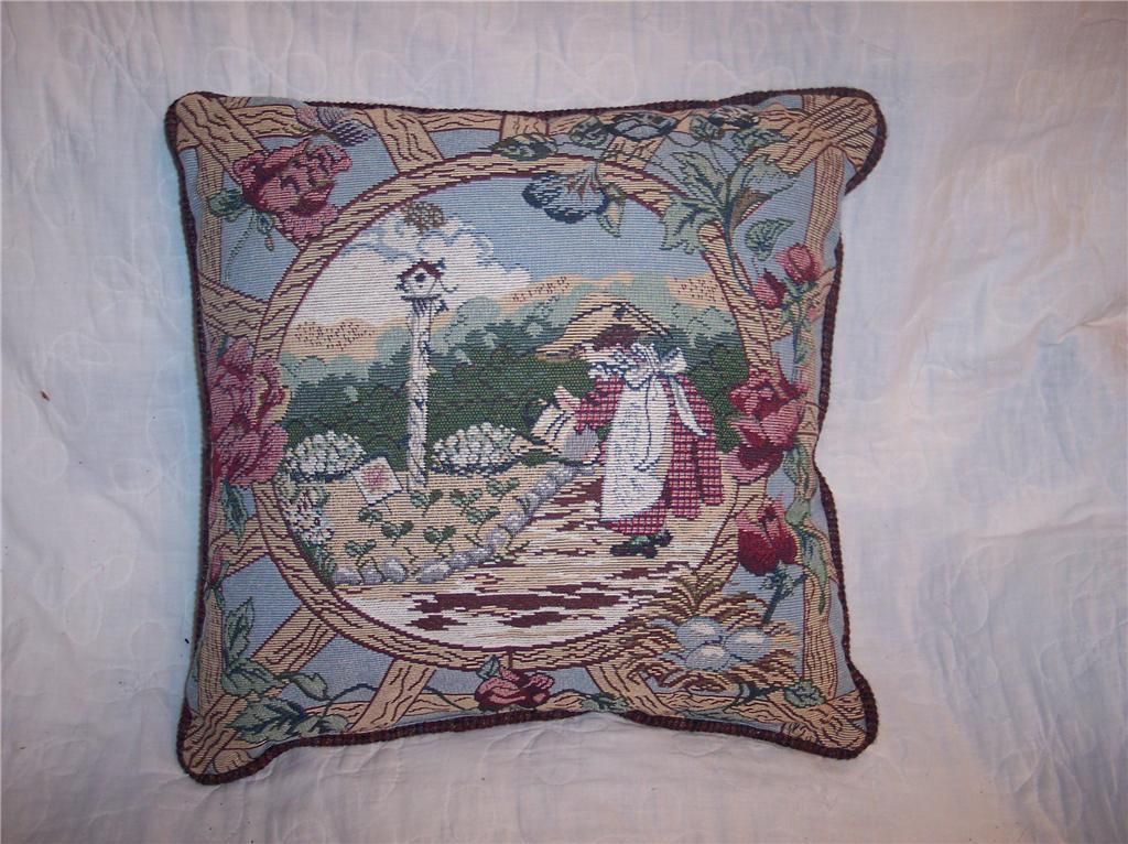 Girl & Garden Print Pillow-Burgundy Back 16 x 16