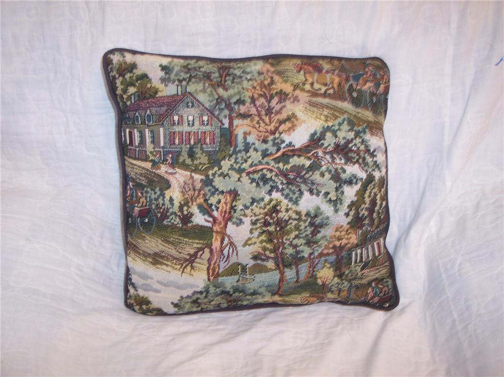 House & Carriage Print Decorative Pillow 16 x 16
