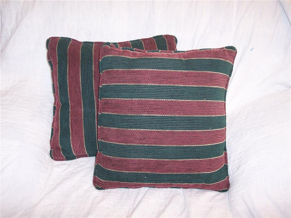 Pair of Burgundy/Green Striped Pillows 15 x 15