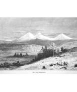 CALIFORNIA Mountains Three Sisters McKenzie RIver - 1883 German Print - $12.60