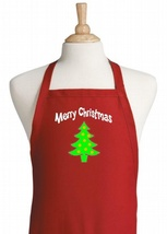 Merry Christmas Red Holiday Kitchen Aprons, Chr... - $14.80
