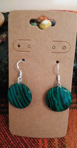 Natural Gemstone Malachite Earrings Earwires Marked 925 Sliver C Women Men  - $12.86