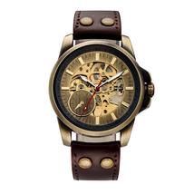 SHENHUA 2018 Vintage Bronze Watch Steampunk Skeleton Mechanical Male Clock Autom image 5