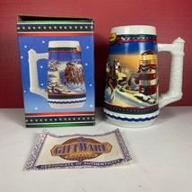 """New 2002 Budweiser Clydesdales Holiday Beer Stein """"Guiding The Way Home"""" +Coa - $14.29"""