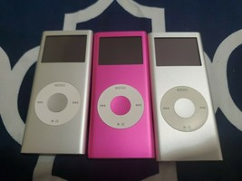 Lot of 3 Apple iPod Nano 2nd Generation, 2/4 GB Silver/Pink Model A1199 Tested - $65.44