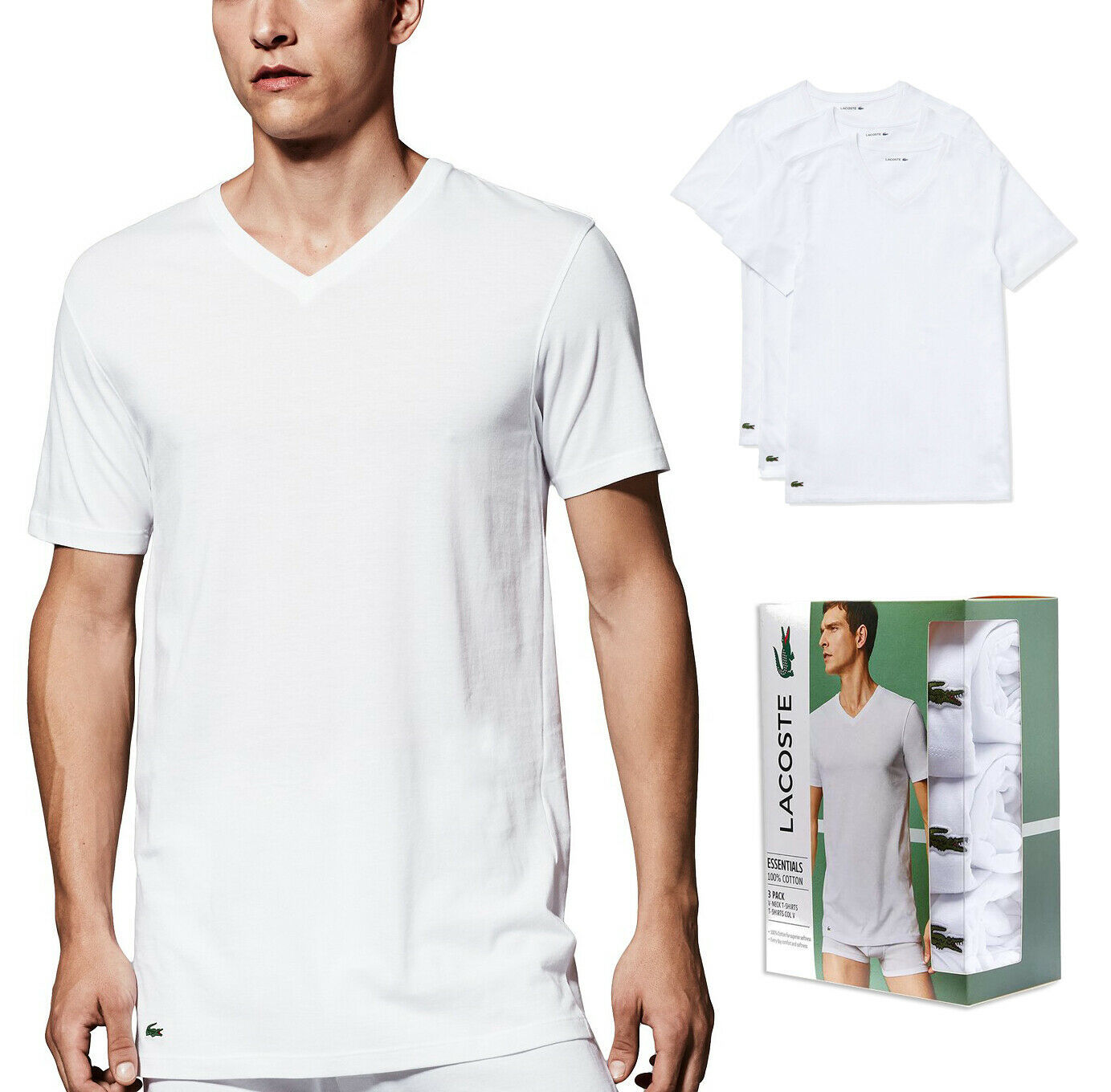 Lacoste Men's 3 Pack Cotton Shirt Regular Fit V-Neck White T-Shirts TH3444-51