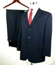 Tommy Hilfiger Suit Size 46 Regular 40 x Unfinished Pants Blue Pinstripes Wool - $64.30