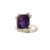 Custom made ring in White Gold with Amethyst and Diamonds - $950.00