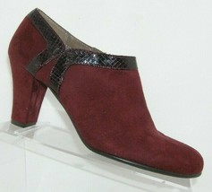 Aerosoles 'Day Strole' wine red man made animal print side zip booties 9.5M - $33.30
