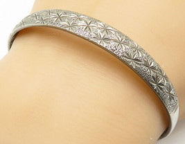 CHINESE 925 Silver - Vintage Floral Etched Pattern Bangle Bracelet - B4837 - $56.15