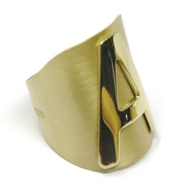 SOLID 925 STERLING SILVER BAND RING, BIG LETTER A, YELLOW SATIN FINISH, SIZABLE image 2